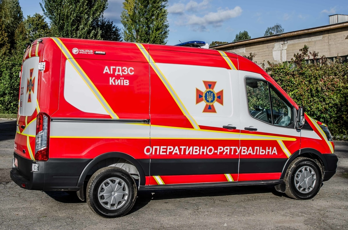 The car of the gas and smoke protection service of the Kyiv City State Automobile Inspectorate (AGDZS)